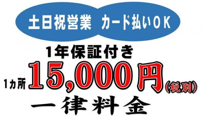 飛び石ガラスリペア 15,000円 1年保証付き