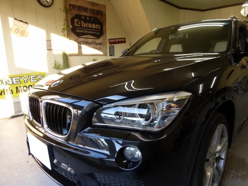 BMW X1 2か所のフロントガラスリペア【牛久市】